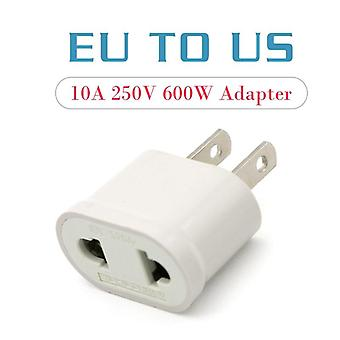 1pc Us Adapter Plug Eu To Us- Travel Wall Electrical Power Charge Outlet