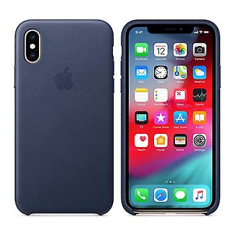 Official Apple Leather Case Cover for iPhone XS - Midnight Blue