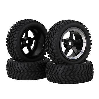 4x Chave de borracha padrão de barba preta Liga de roda 5-Spoke Roda para RC1:10