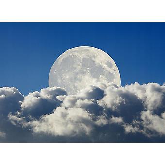 Tapete Wandbild Big Moon and Clouds