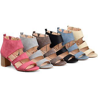 Brinley Co Womens Joyce Side-Zip Faux Leather Stacked Heel Open-Toe Sandals