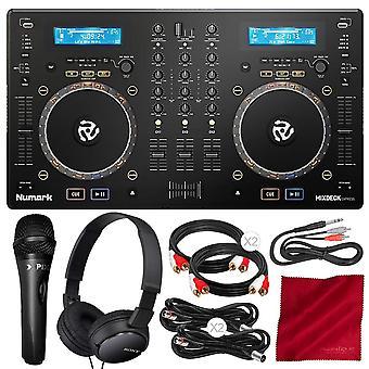 Numark mixdeck express premium dj controller with cd & usb playback + microphone & headphones deluxe accessory bundle