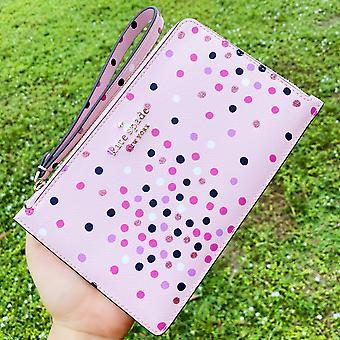 Kate spade medium l-zip rannekoru lompakko saffiano nahka konfetti vaaleanpunainen multi glitter dot