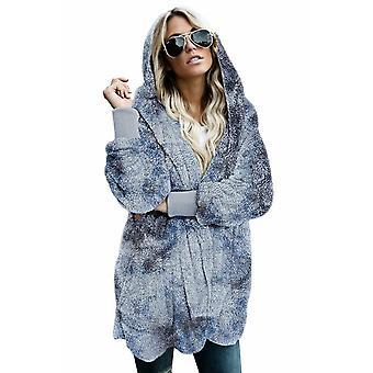 Women'ق التعادل صبغ لينة الصوف غطاء معطف الجبهة المفتوحة