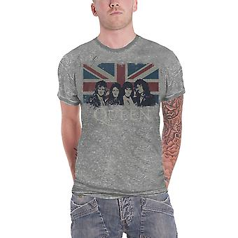 Queen T Shirt Vintage Union Jack Band Shot Logo Official Mens New Grey Burnout