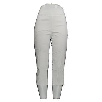 Joan Rivers Women's Petite Pants Pull-On Cropped With Lace Up White A301920