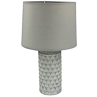 White Beveled Lamp And Shade 38cm