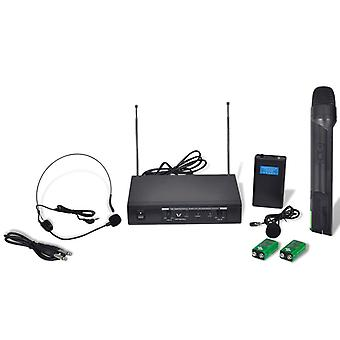 Receiver with 1 wireless microphone and 1 wireless headset VHF