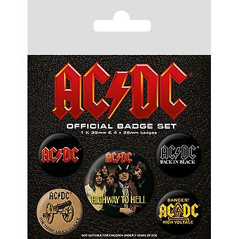 Ensemble de badges logo AC/DC (Pack de 5)