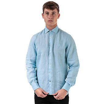 Men's Henri Lloyd Linen Long Sleeve Regular Fit Shirt in Blue
