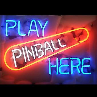 Pinball Here Glass Neon Light Sign Beer Bar