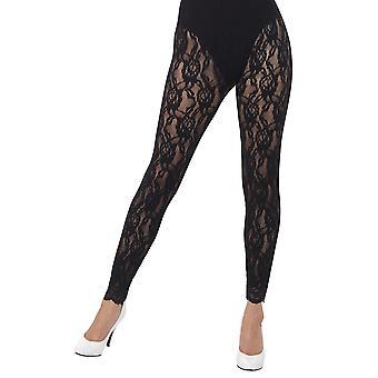 Smiffys 80s kant legging 1 zwart