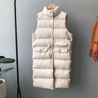 Autumn/winter Cotton Vest Casual Waistcoat Female Sleeveless Long Vest Jacket