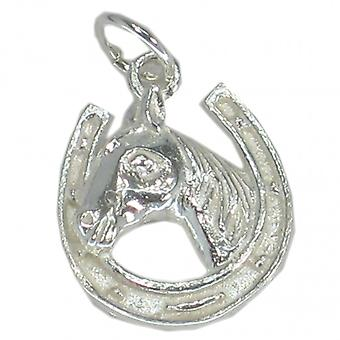 Horseshoe With Horse Head Sterling Silver Charm .925 X 1 Horses Charms - 27