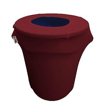 La Linen Stretch Spandex Trash Can Cover 32-Gallon Round,Burgundy