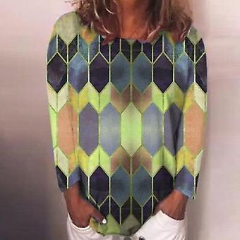 Geometric Print, Elegant O Neck- Long Sleeve Casual Shirts