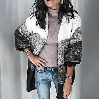 Patchwork Color Open Front Knitted Cardigan Coat