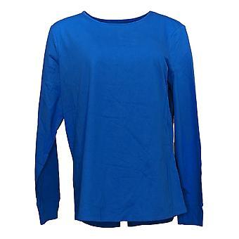 Denim & Co. Principais Essenciais Femininos Perfect Jersey Curved Hem Blue A389885