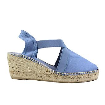 Toni Pons Ter Ultramarine Blue Linen Womens Wedge Pull On Espadrille Shoes