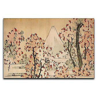 Fuji-vuori kirsikkapuiden ja kukkakankaan takana