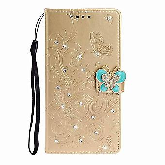 Leather shiny butterfly case for Huawei P30 - Golden