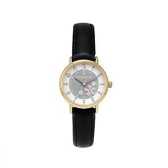 Watch Girl LuluCastagnette FLEUR AnalogAl White dial Black leather strap