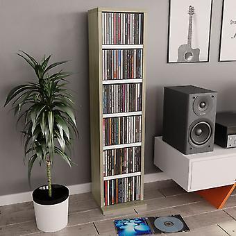 vidaXL CD-Schrank Weiß Sonoma-Eiche 21x20x88 cm Spanplatte