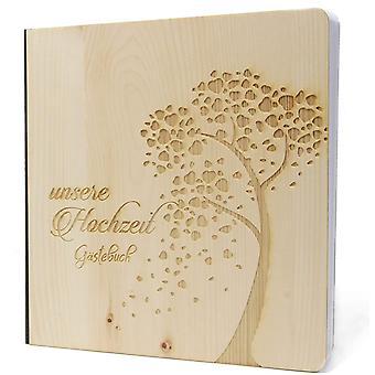 Hochzeit Gästebuch mit edlem Echtholz Zirbenholz Cover in der Größe 20 x 20cm 192 beschreibbare
