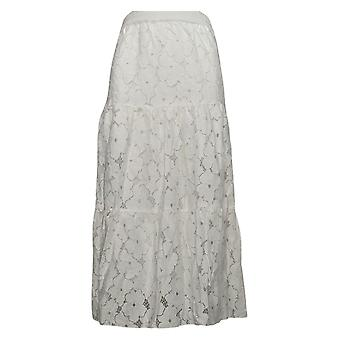 Linea by Louis Dell'Olio Skirt Cotton Blend Eyelet Skirt Ivory A379905