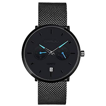 SUPBRO Ultra thin men's watches with minimalist black quartz with black mesh strap(7)