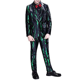Mile Boy's Three-piece Single-breasted Gun-collar Suit Green Striped Casual Slim Suit (tops & Pants & Bow Tie)