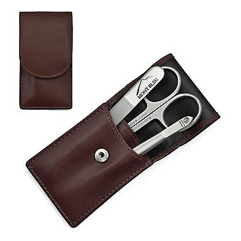 Hans Kniebes' Sonnenschein 3-piece Manicure Set in Nappa Leather Case, Made in Germany - Bordeaux