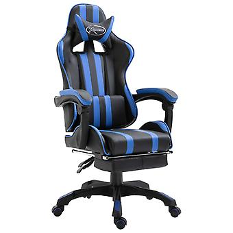vidaXL gaming stoel met voetsteun blauw kunstleer