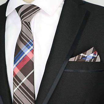 Mager stropdas grijs blauw & rode tartan & zak plein
