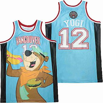Mens Basketball Jersey #12 Vancouver Yogi Teal Space Movie Jersey 90s Hip Hop Clothing For Party S-xxl