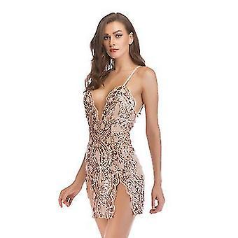 Xl kayısı kadın parıltı seksi derin v boyun payet halter gece kulübü parti elbise x2993