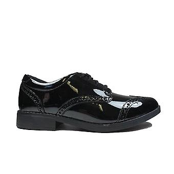 Clarks Loxham Brogue Youth Black Patent Leather Girls Lace Up School Shoes