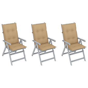 vidaXL כיסאות גן מתכווננים 3 יח'.