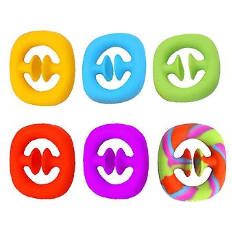 6 stuks silicone grip ring office squishy speelgoed stress reliever