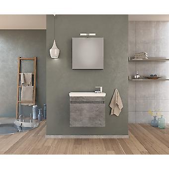 Set Mobili Luxus , Colore Grigio, Bianco in Truciolare Melaminico, LPB, Ceramica, Alluminio, ABS, Unita' Base con Lavabo: L60xP31xA50 cm