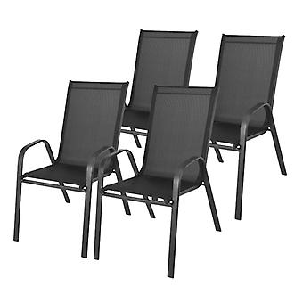 Puutarhapöytätuolit asetettu mustaksi - 4 kpl