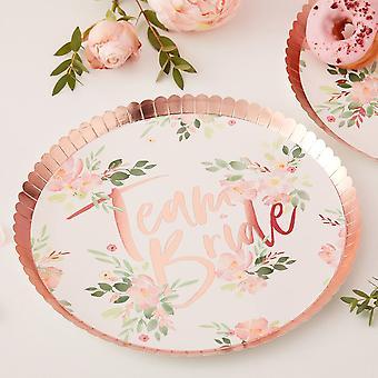 TEAM BRIDE FLORAL PAPER PLATES - FLORAL HEN PARTY