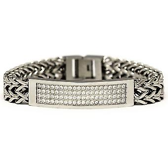 Silver Tone Stainless Steel 2 Row CZ Franco Link ID Bracelet 8 Inches