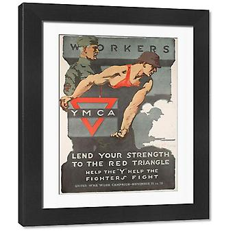 YMCA Poster, Lend Your Strength, WW1. Framed Photo. YMCA Poster, design by Adrian Gil-Spear, Lend.