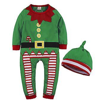 Baby Kinder Outfit Kleidung Santa Strampler Weihnachten Jumpsuit Hut Set Weihnachten