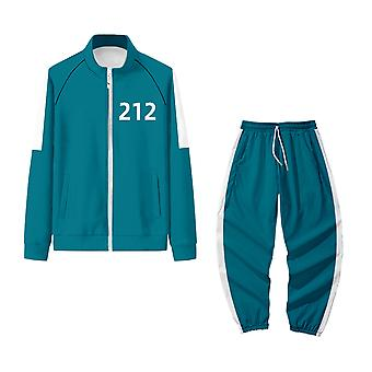 Squid Game Jacket Sportswear Autumn Stand-up Collar Zipper Sweater + Trousers