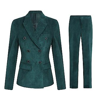 Swotgdoby Womens Solid Color Lapel Stripe Double-breasted Corduroy Tops & Pants Suit