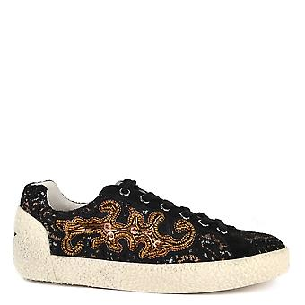 Ash Footwear Nymphea Black Suede And Printed Trainer
