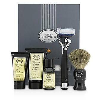 The Art Of Shaving Lexington Collection Power Shave Set: Razor + Brush + Pre Shave Oil + Shaving Cream + After Shave Balm - Without Battery - 5pcs