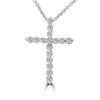 3/8ct Real Diamond Cross Pendant White Gold Necklace